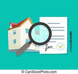ispezione, qualità, esaminare, vettore, informazioni, proprietà, casa, accordo, proprietà, residenziale, casa, revisione, ricerca, costruzione, reale, costruzione, appartamento, documentazione, architettura, verifica