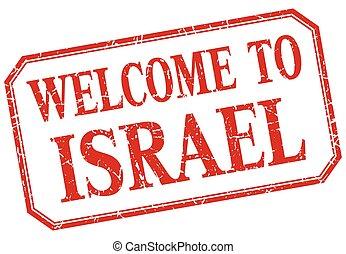 israele, vendemmia, benvenuto, -, isolato, etichetta, rosso