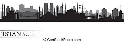 istanbul, orizzonte, città, silhouette