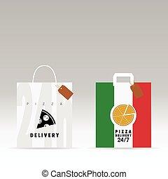italia, colorare, esso, illustrazione, borsa, carta, pizza