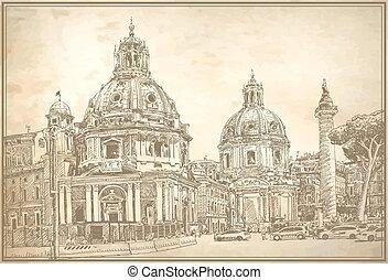 italia, originale, roma, digitale, cityscape, disegno
