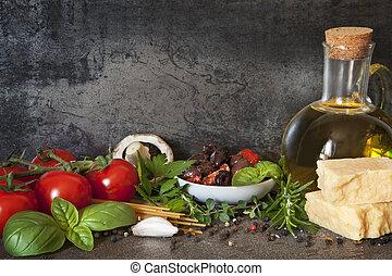 italiano, fondo, cibo