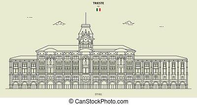 italy., punto di riferimento, trieste, municipio, icona