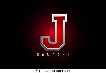 j, icona, grigio, rosso, lettera, disegno, metallico, alfabeto, ditta, logotipo, metallo, 3d