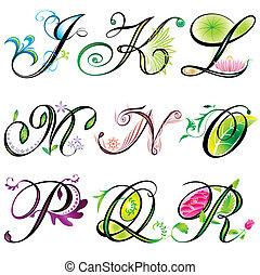 j-r, alfabeti, elementi