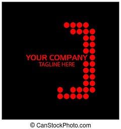 j, vettore, design., logotipo, lettera, rosso, sagoma