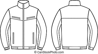 jacket., lavoro, indietro, fronte