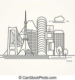 japan., linea, style., tokyo, appartamento, uno, lineare, illustrazione