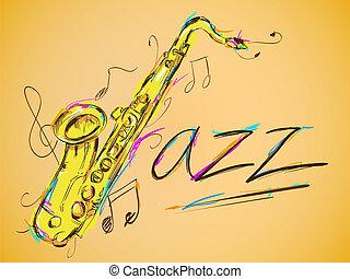 jazz, vettore, arte