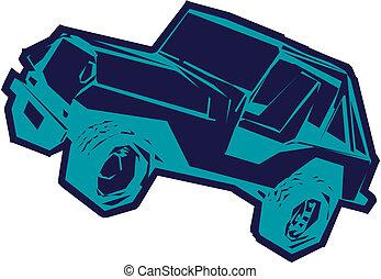 jeep, cartone animato, vettore