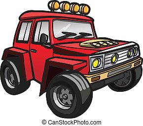 jeep., isolato, rosso, cartone animato