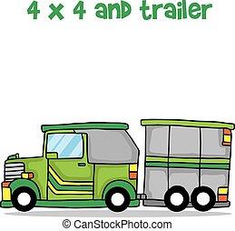 jeep, vettore, disegno, cartone animato, roulotte