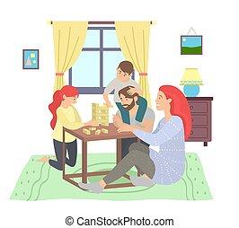 jenga, pavimento, educativo, felice, gioco, seduta, bambini, giochi, famiglia, gioco, genitori, tavola
