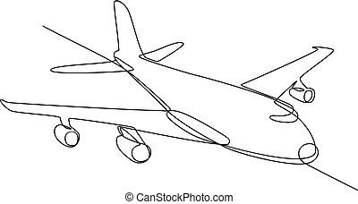 jet, continuo, aereo di linea, aereo, colosso, linea