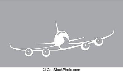 jet., sky., immagine, aereo di linea, illustrazione, vettore, colosso