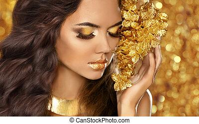 jewelry., dorato, occhi, moda, bellezza, attra, makeup., portrait., ragazza
