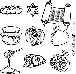(jewish, rosh, illustrazione, simboli, hashanah, vettore, year)., nuovo, iconset