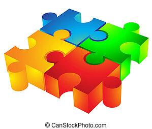 jigsaw:, 3d, icona