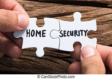 jigsaw, casa, pezzi, connettere, mani, sicurezza