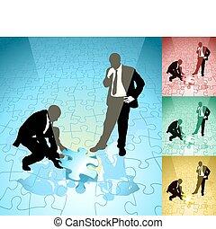 jigsaw, illustrazione, concetto, affari