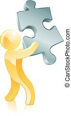 jigsaw, persona, pezzo