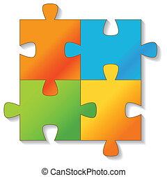 jigsaw, puzzle., vector.