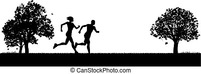 joggers, parco, esercitarsi, corridori, o