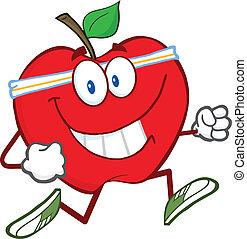 jogging, carattere, mela, rosso, cartone animato