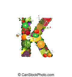 k, frutta, succoso, lettera