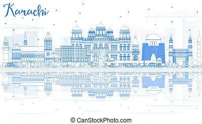 karachi, blu, contorno, limiti, orizzonte, reflections.