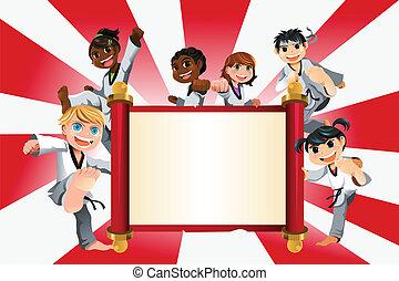 karate, bambini, bandiera