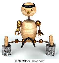 karate, legno, uomo