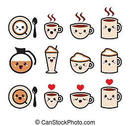 kawaii, carino, caffè, icone