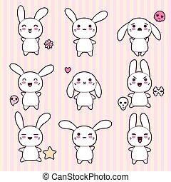 kawaii, carino, conigli, divertente, collezione, felice