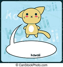 kawaii, carino, grunge, gatto, fondo., scheda