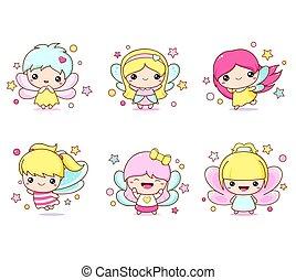 kawaii, costume, ragazza, set, fata, fairy., poco