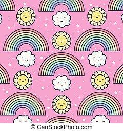 kawaii, estate, arcobaleno, nubi, carino, sole, modello