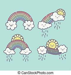 kawaii, estate, piovoso, arcobaleno, nubi, carino, sole, caratteri