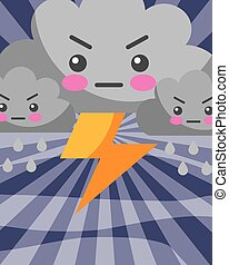 kawaii, fulmine, pioggia, tempo, nubi, gocce, cartone animato