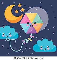 kawaii, nubi, aquilone, cielo, luna, stelle, notte