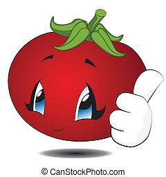 kawaii, pomodoro, cartone animato