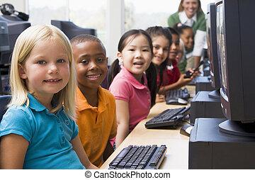 key), insegnante, terminali, computer, fondo, (depth, field/high, bambini