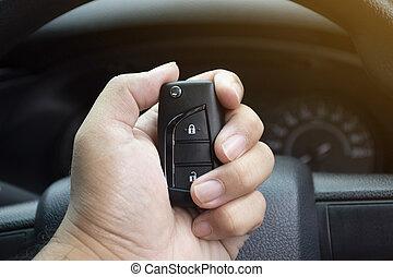 keyless, automobile, tenendo mano, remote., driver