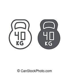kg, lineare, peso, fondo., segno, modello, 40, kettlebell, palestra, vettore, grafica, icona, linea, sport, bianco, glyph