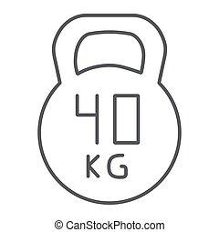 kg, lineare, peso, segno, modello, palestra, 40, kettlebell, fondo., vettore, magro, grafica, icona, linea, sport, bianco