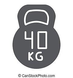 kg, peso, fondo., segno, modello, palestra, 40, kettlebell, solido, vettore, grafica, icona, bianco, sport, glyph