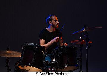 kit, gioco, uomo barbuto, bello, suo, tamburino