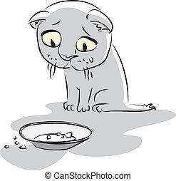 kitty., vettore, affamato, illustrazione