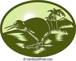 kiwi, albero, uccello, fondo, vista laterale