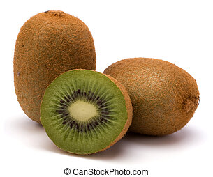 kiwi, bianco, frutta, isolato, fondo
